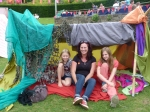 Katie, Emily and myself on a far more relaxed excursion in Cornwall – den building at the Eden Project.