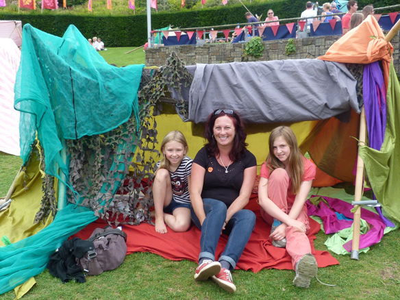 Katie, Emily and myself on a far more relaxed outing in Cornwall – den building at the Eden Project.